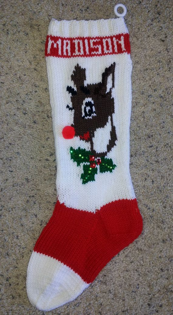 Hand Knitted Christmas Stocking Reindeer By Tracyward On