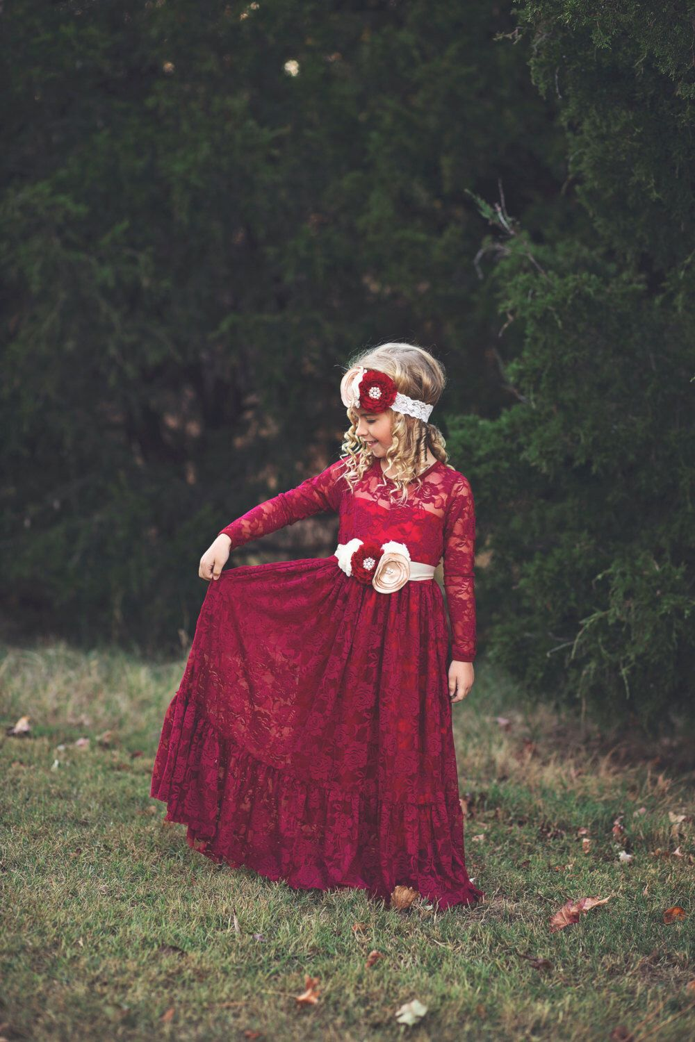 684feb5a73cc lace flower girl dress, burgundy, girl lace dresses, wine red dress, long