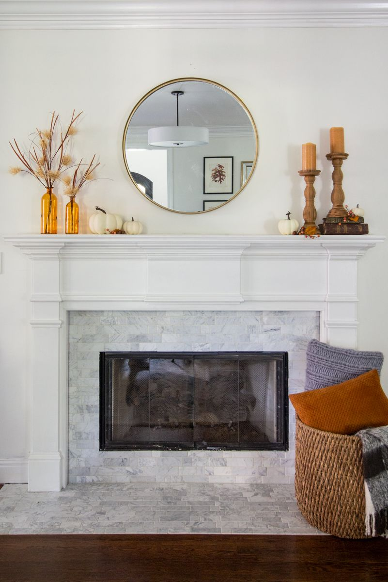 4 Ways To Style A Simple Fall Mantle With A Round Mirror Deeplysouthernhome Simple Fall Mantle Fireplace Mantle Decor Fall Fireplace Decor