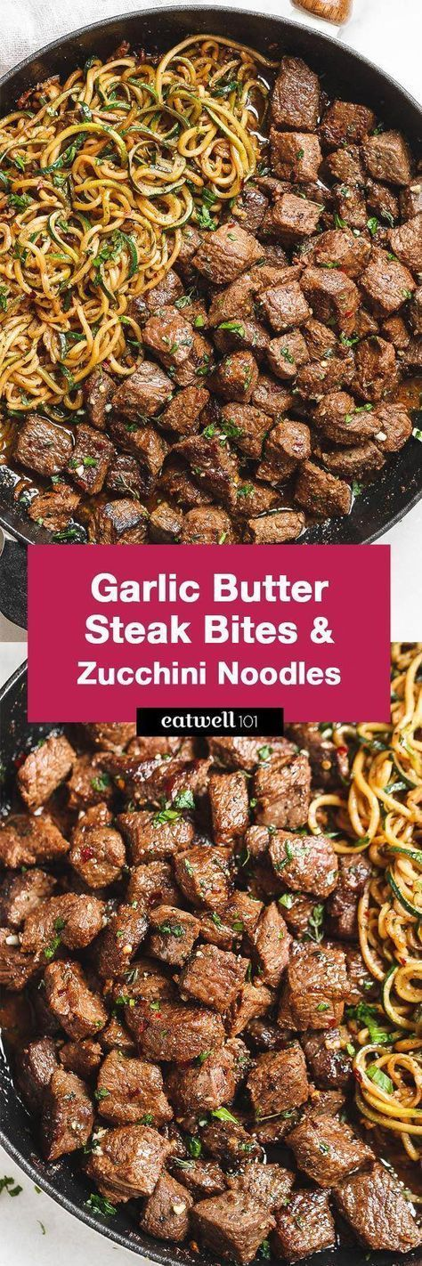 Garlic Butter Steak Bites with Lemon Zucchini Noodles #dishesfordinner