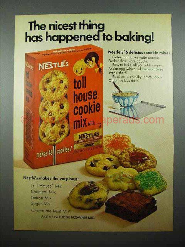 1969 Nestles Toll House Cookie Mix Ad Vintage Cookies
