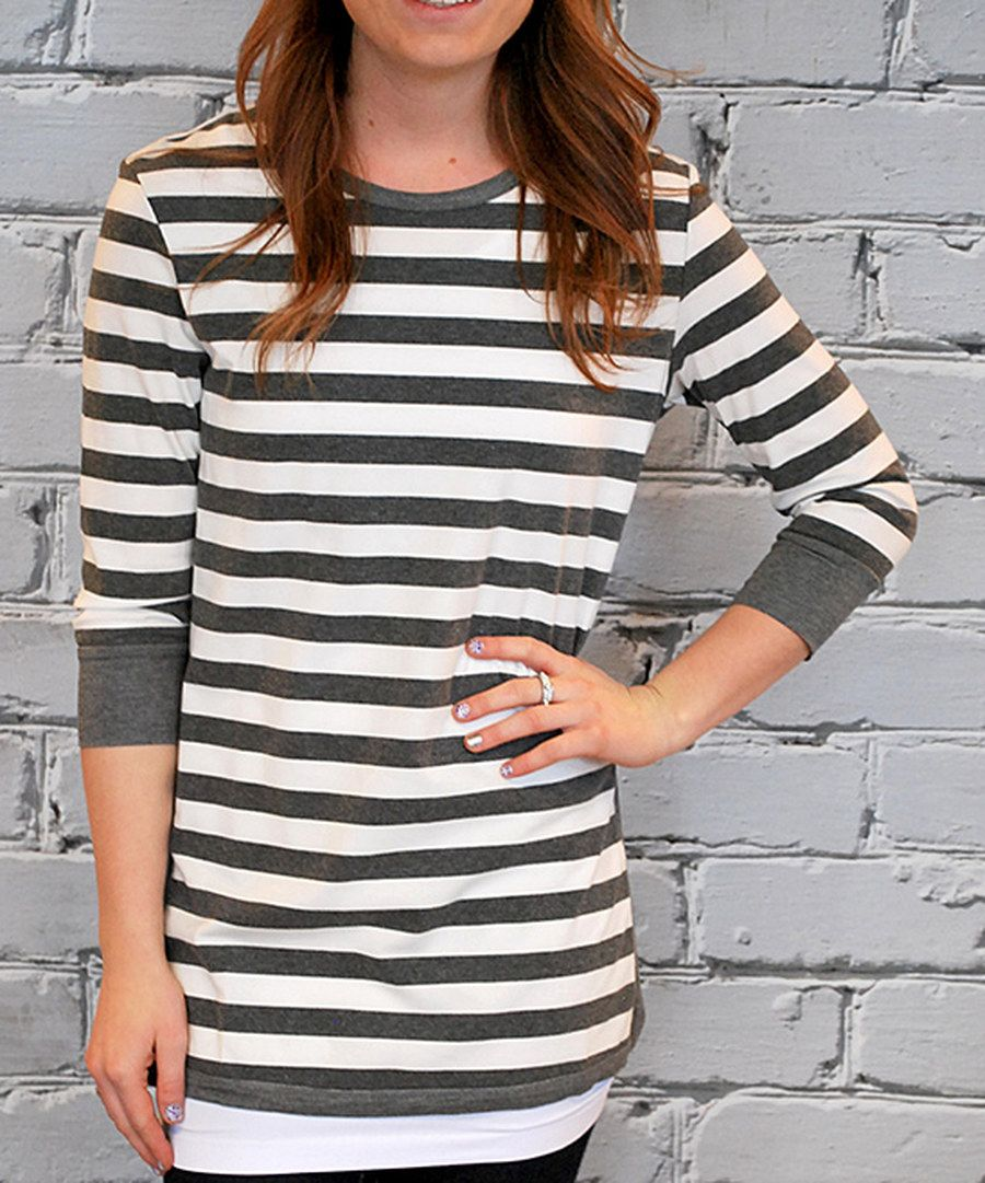 Look at this Olivia & Jane Charcoal Stripe Three-Quarter Sleeve Top on #zulily today!