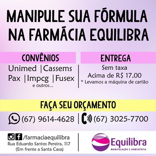 Nosso horário de atendimento é: Seg à Sex (08:00 às 18:00) Sáb: (08:00 às 12:00) Na semana do Natal não vamos abrir apenas no dia 25. ☝✔ #farmaciaequilibra #equilibra #farmacia #manipulação #remédiosmanipulados #farmaciademanipulaçao #saúde #cuidados #qualidadedevida #campograndesaudavel #campogrande #campograndems #cgr #cgms #ms #cg #ficaadicacg #manipulacao #brasil #remedio