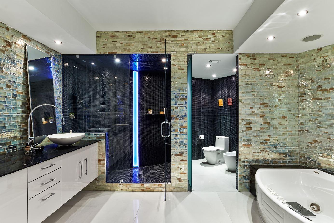 This Stunning Miami Apartment Was Transformed Using Kitchen Trend Surface Polar Ice For The Countertop Backsplash Enhanc Bathroom Bathroom Renovations Bathroom Trends