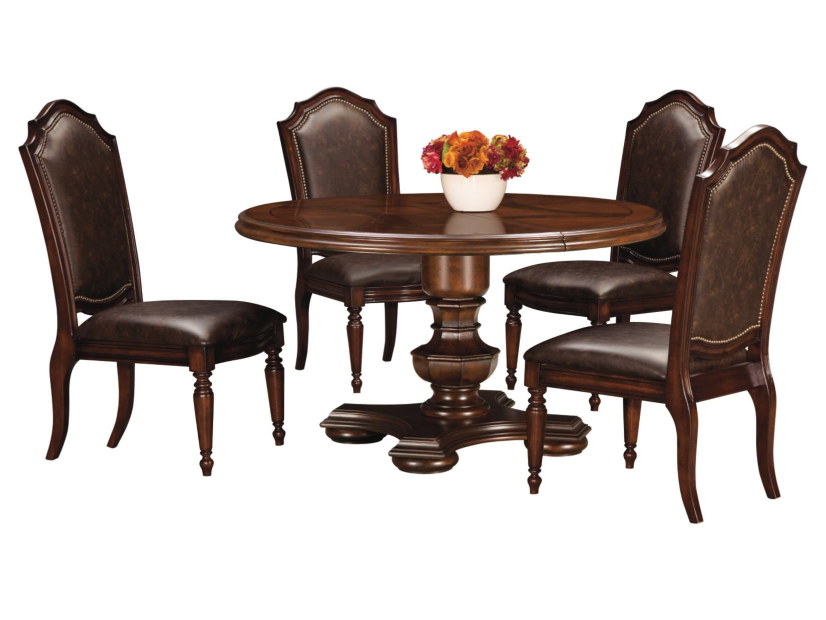 Chateau Emillion 5 Pc Single Pedestal Dining Set Value City Furniture Value City Furniture American Signature Furniture Furniture