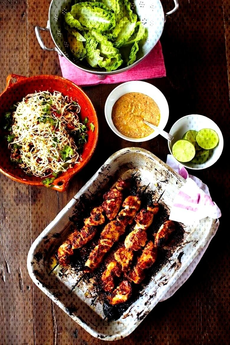 Olivers 30 Minute Recipes Chicken Skewers, Amazing Satay Sauce, Fiery Noodle Salad, Fruit amp Mint