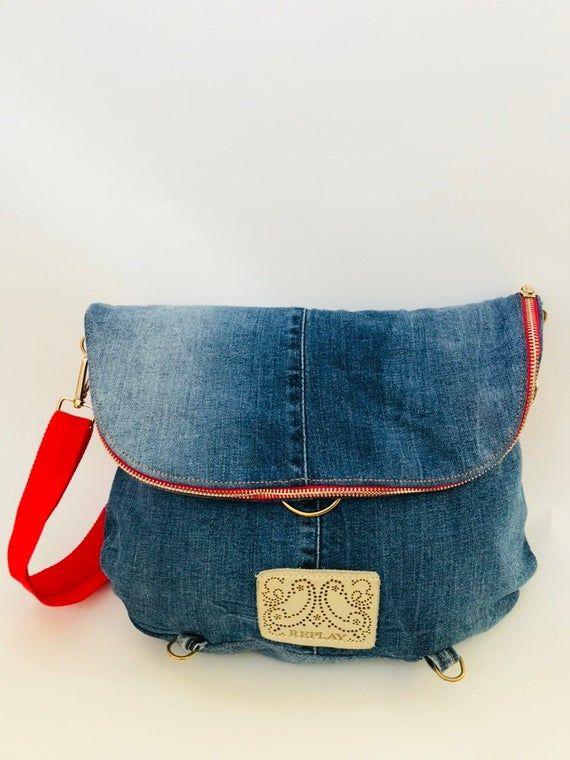 Mochila de vaqueros reciclados, bolsa de transformador, bolso de cuerpo cruzado, bolso azul, bolso para madres, bolso eco-frindly, bolso de tela para mujer, mochila denim