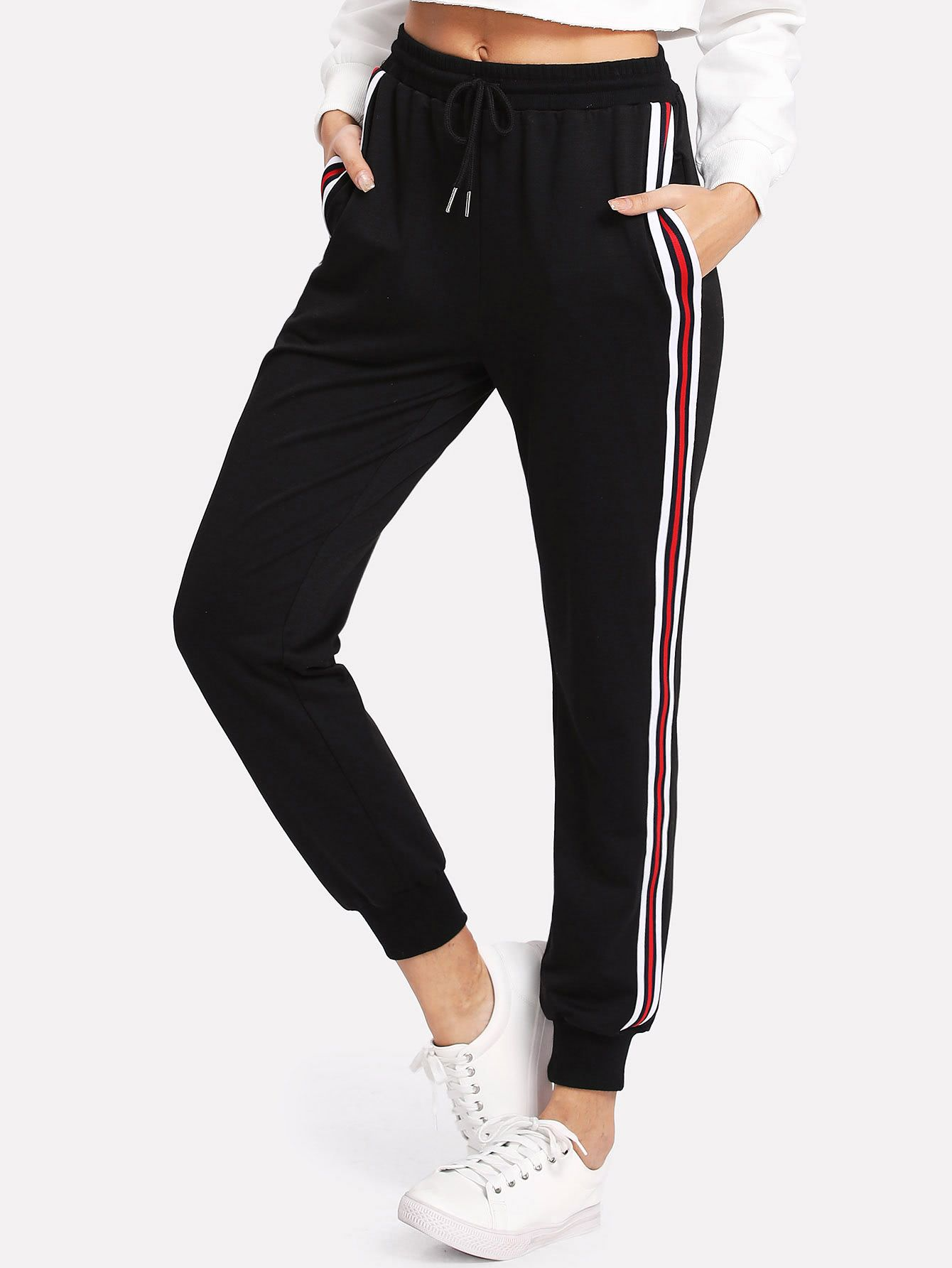 Shop Striped Tape Side Drawstring Sweatpants online. SheIn offers Striped  Tape Side Drawstring Sweatpants   more to fit your fashionable needs. eb2bd630a87