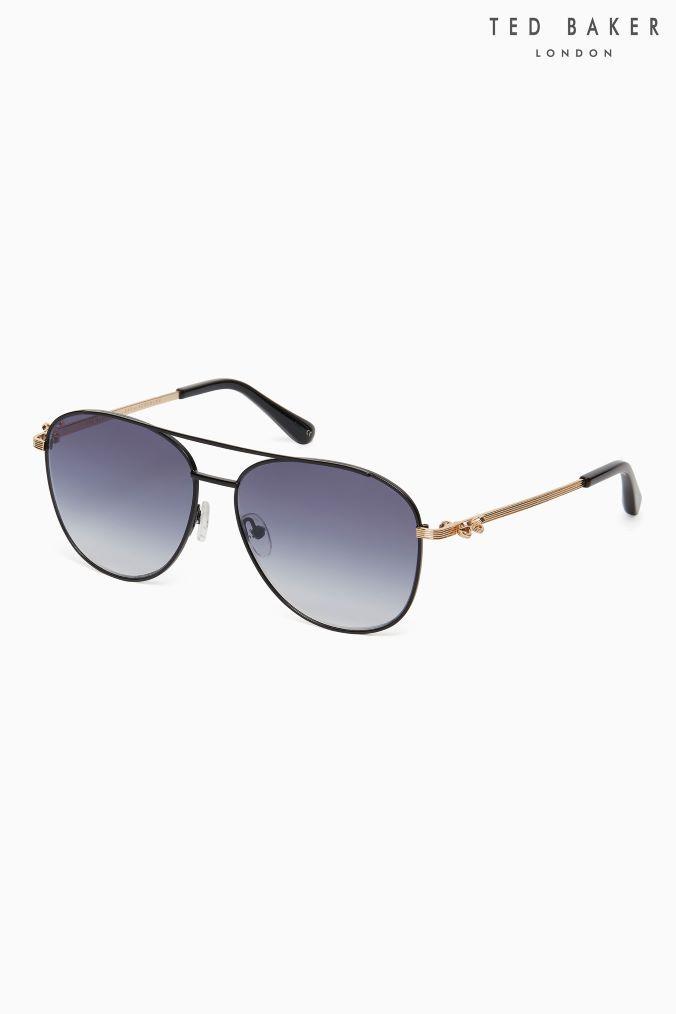 1ae8b1a50c Womens Ted Baker Black Bow Detail Arm Mira Aviator Sunglasses - Black