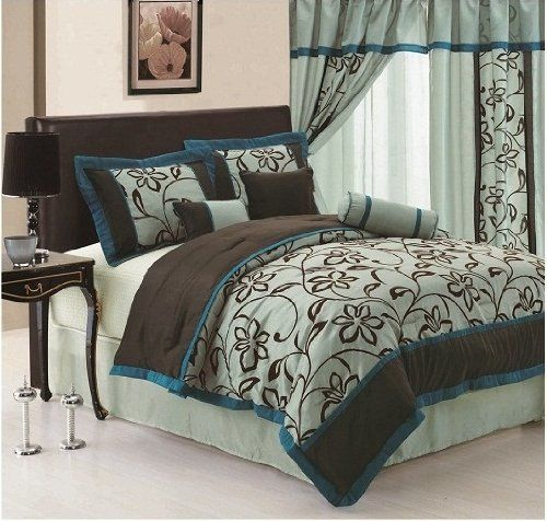 Blue And Brown Bedroom Set peacock teal and brown bedding |  printing aqua blue teal brown