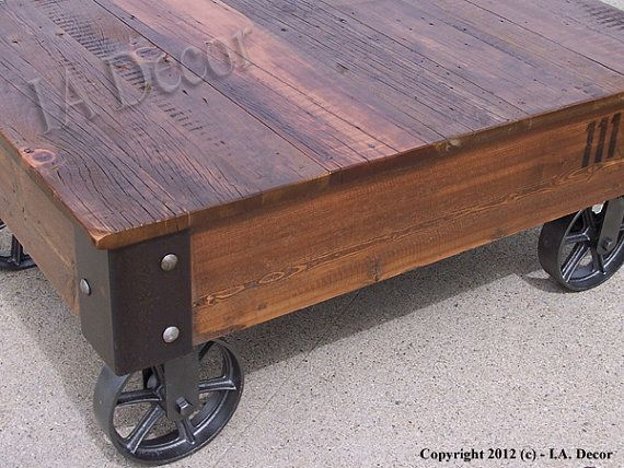 Factory Cart Coffe Table With Wheels On Corners Reclaimed Wood Industrial Rustic Coffee