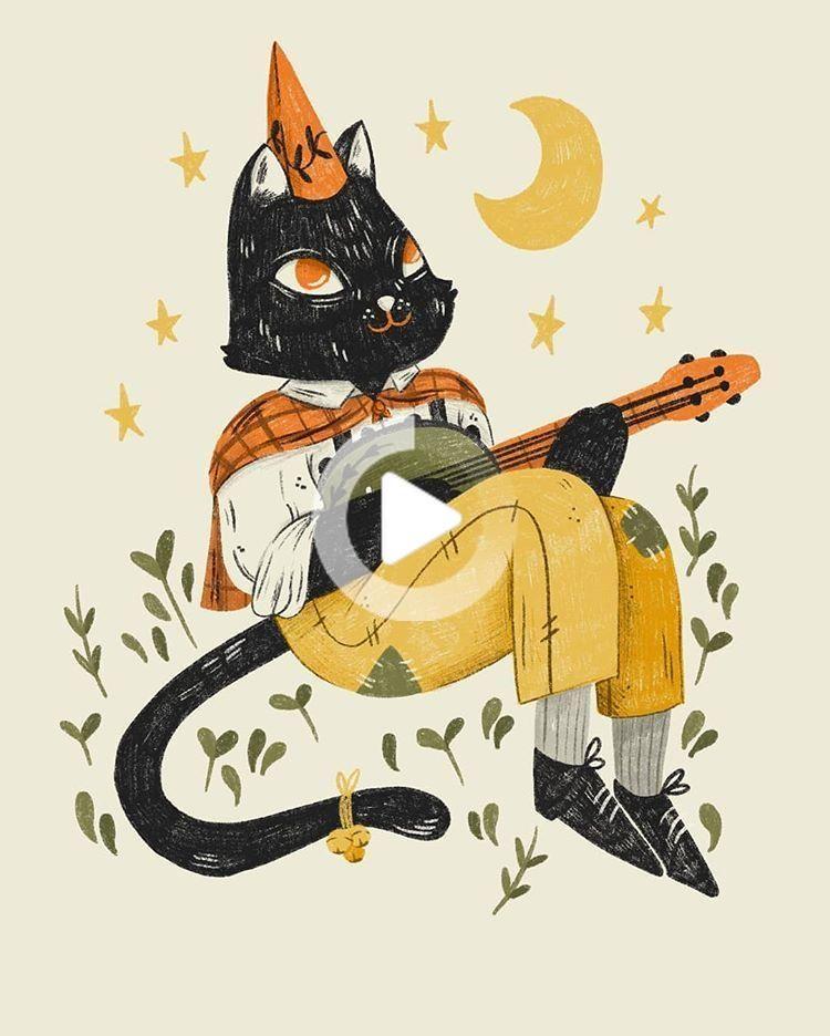 Playin a tune beneath the autumn moon ---- #art #illustration #drawing #painting #autumn #fall #cat #blackcat #halloween #illusatration #art
