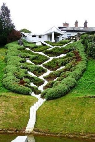 Eclectic Landscape/Yard with Lawn, Exterior stone chimney, Grass, Box hedge, hillside garden, Stair pathway