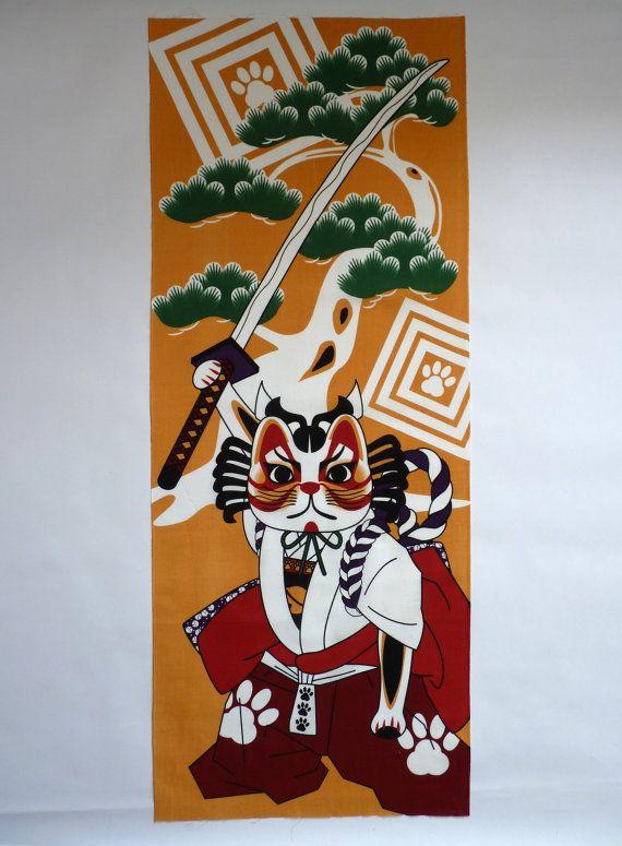 Japanese Cat Samurai Cotton Panel Nobori Banner by FoxandThomas, $14.50