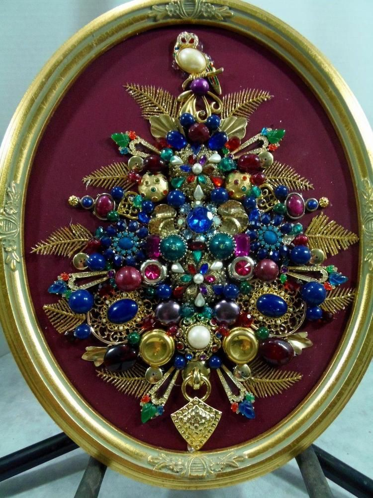Framed Jewelry Christmas Tree Wowl Vintage Superb Wlights One Of A