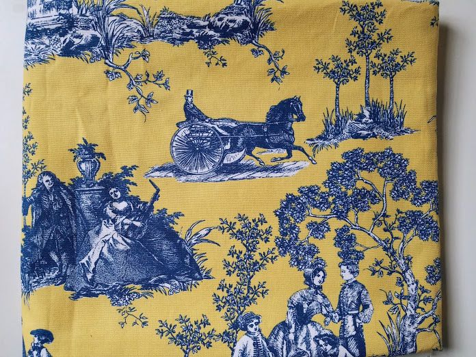 details about waverly toile horse carriage yellow blue decorator fabric 56 2 yards - Decorator Fabric