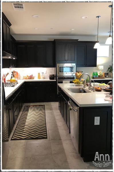 Espresso Cabinet Kitchen W/ White Quartz Counter Top, Shea Homes Persimmon,  The Cannery