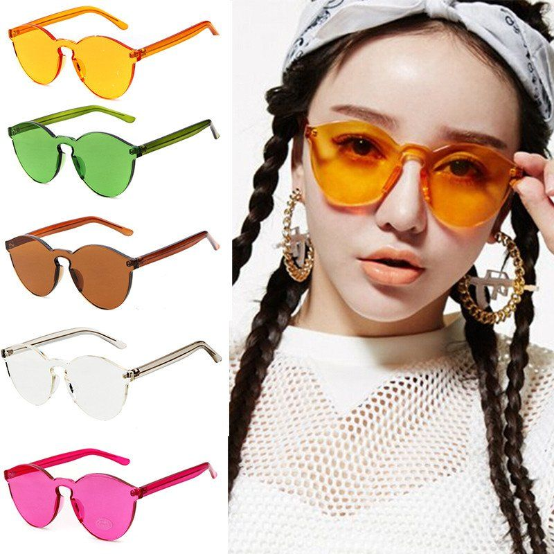 68e48f575e Transparent Candy Color Rimless Sunglasses