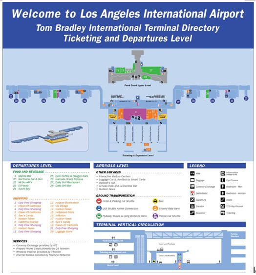 lax tom bradley terminal map An Old Map Of Tom Bradley International Terminal Los Angeles lax tom bradley terminal map