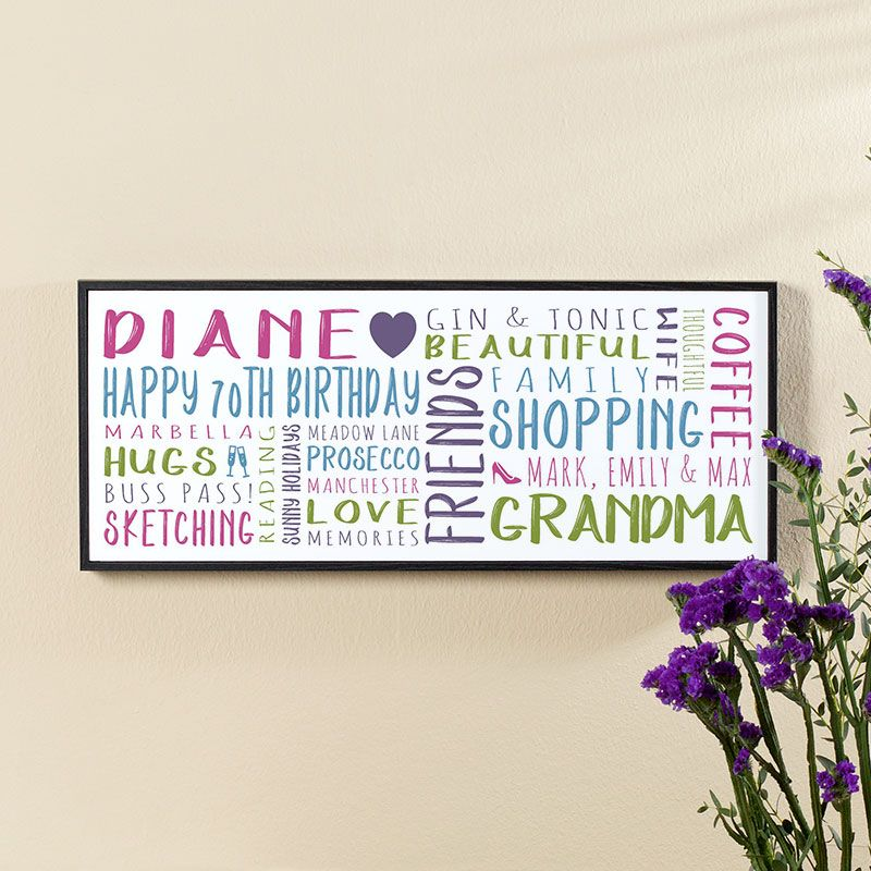 70th Birthday Gift For Her Of Personalised Panoramic Word