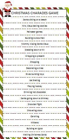 Christmas Charades Game Christmas Games Christmas Games