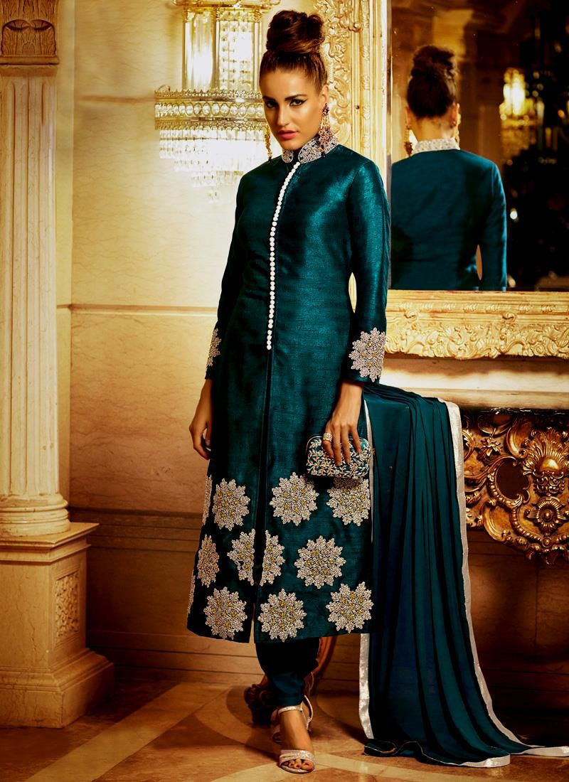 Nice teal bhagalpuri silk designer suit salwar suits pinterest