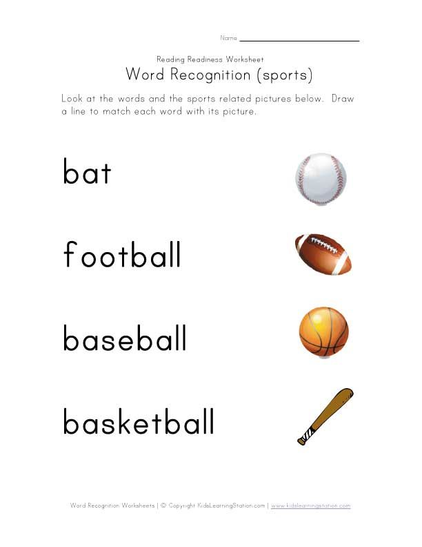 sport worksheets for kids people word recognition sports word recognition fruit word. Black Bedroom Furniture Sets. Home Design Ideas