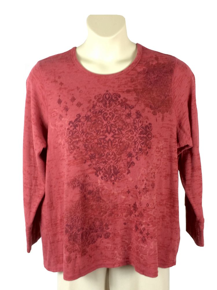 73d4fab0fb839 Womens Sonoma Pink Waffle Knit Top Plus Size 1X Polyester Cotton Blend Long  Slv  Sonoma  WaffleKnitTop  Any