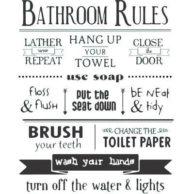 Superieur Bathroom Rules Wall Decal