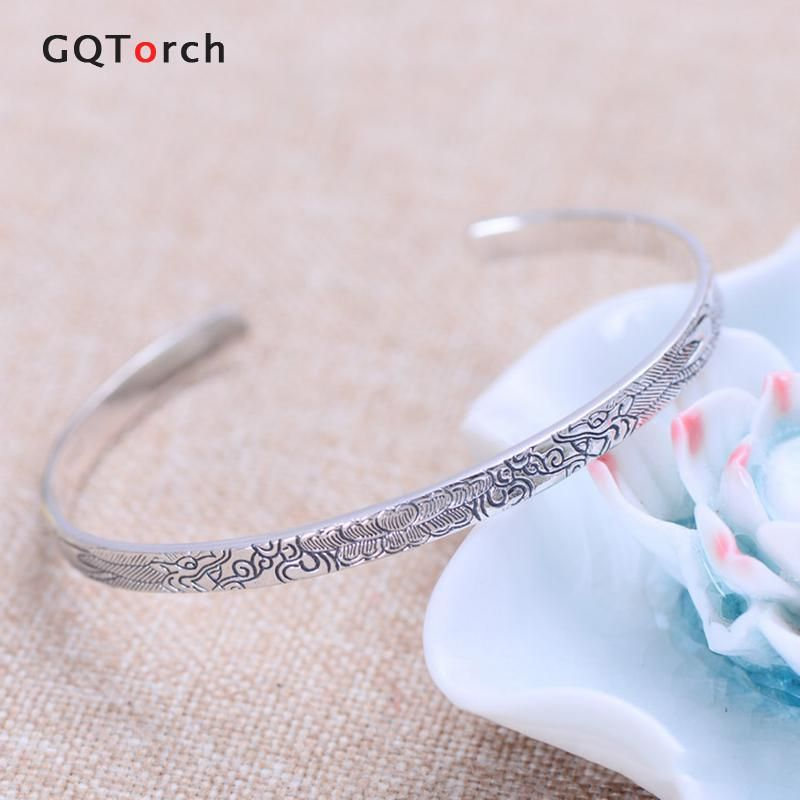Real Pure 925 Sterling Silver Bangle for women Opening Bracelet Vintage Handmade Dragon Lotus Pattern Carved Fine Jewelry