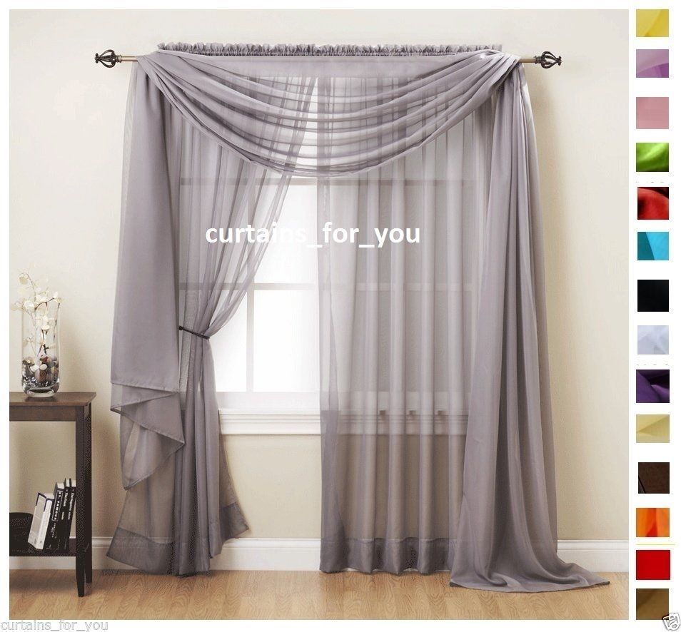 Voile curtains scarf pelmet valance 17 colours amazing for you ... for Grey And White Voile Curtains  55nar