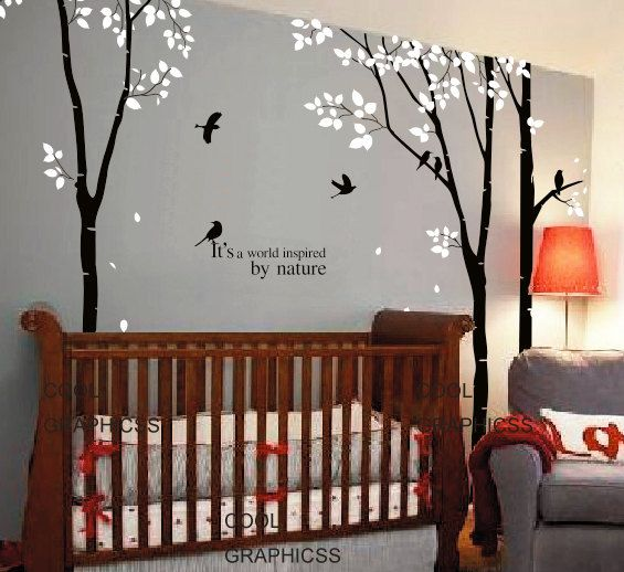 trees wall decal office wall decal flying birds wall decal ...