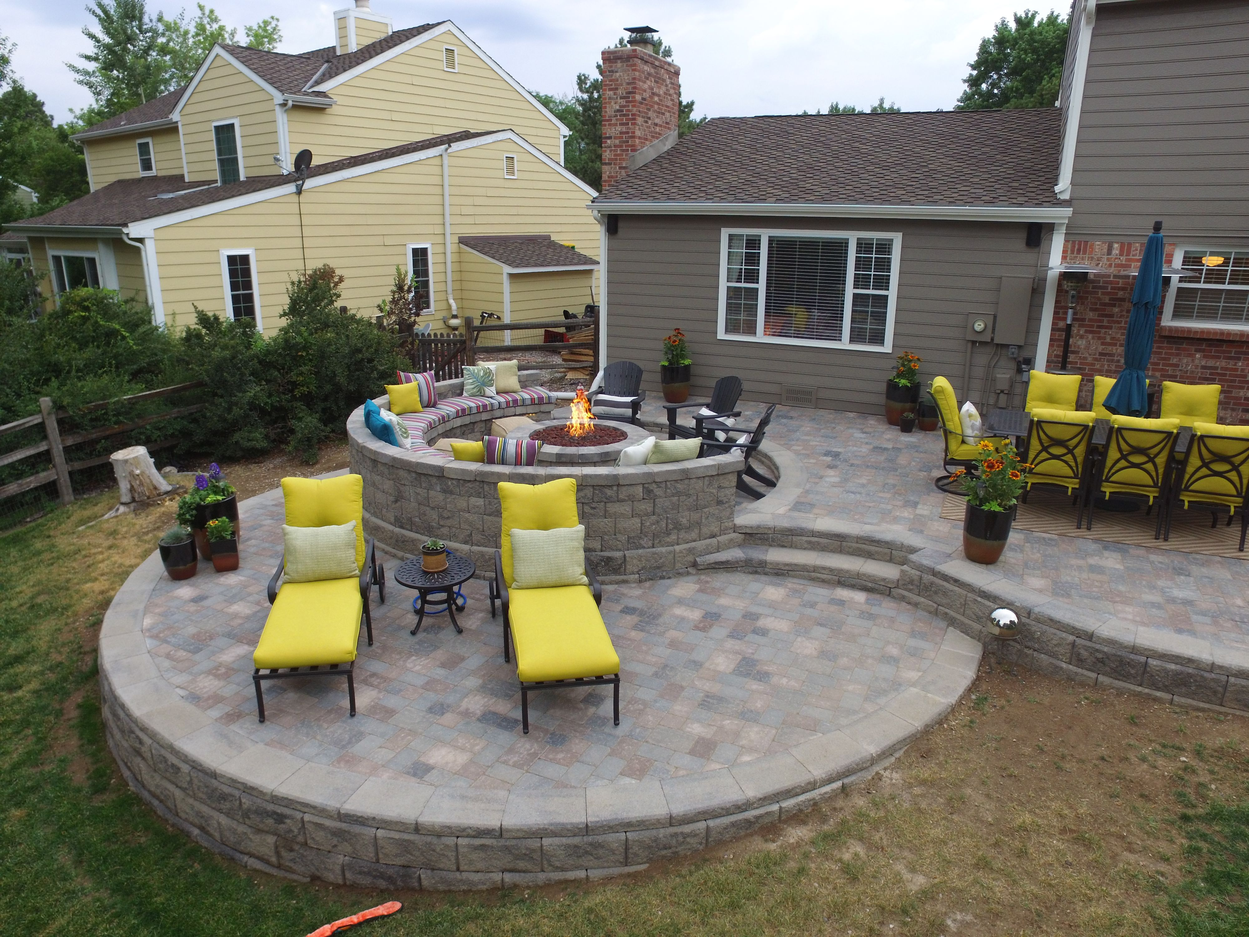 This Is A Raised Paver Patio We Built In 2017 Main Patio Structure Was Built Using Allan Block Classic Retaining Wall Blo Concrete Patio Fire Pit Plans Patio