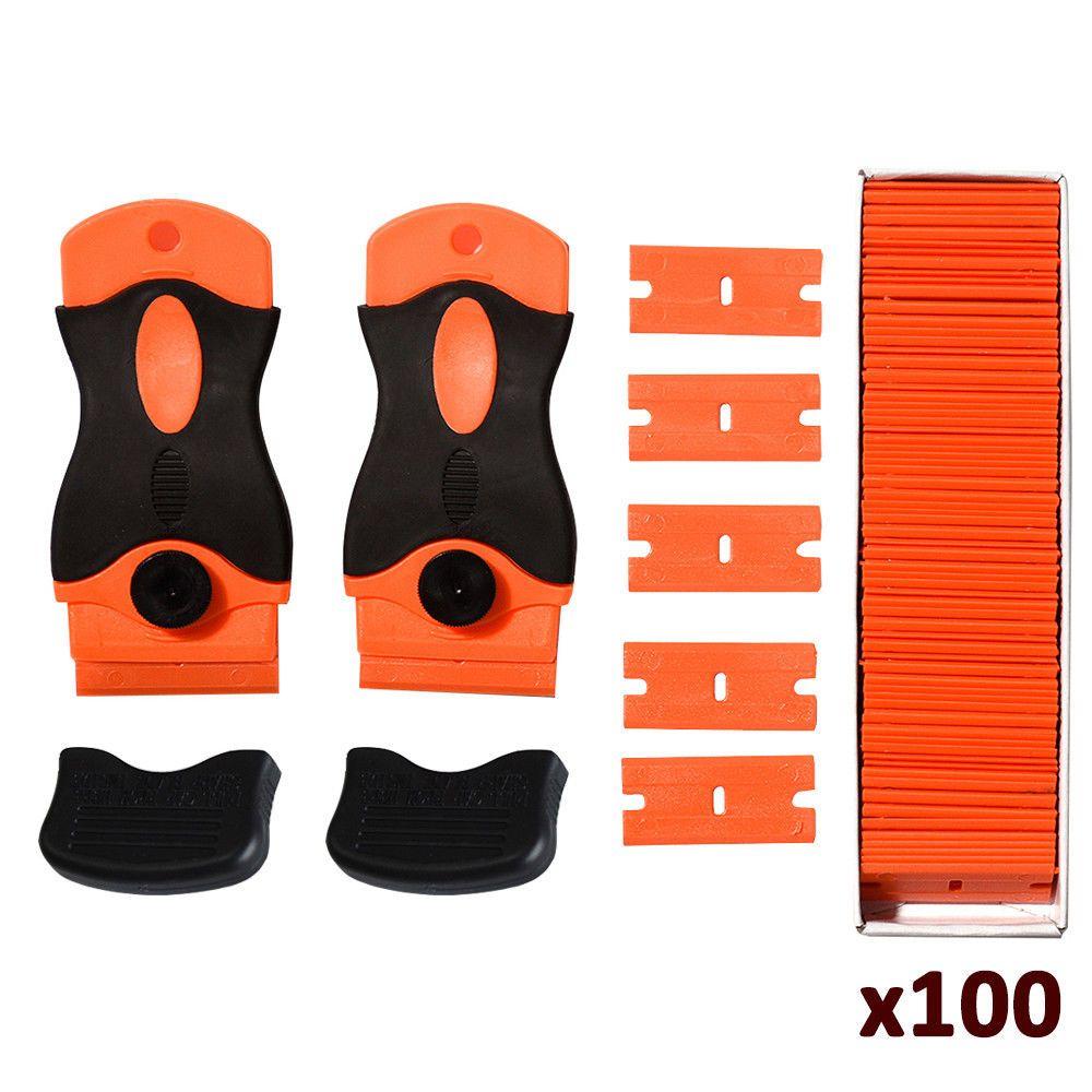 2pc Plastic Razor Scraper W 100pcs 1 5 Inch Double Edged