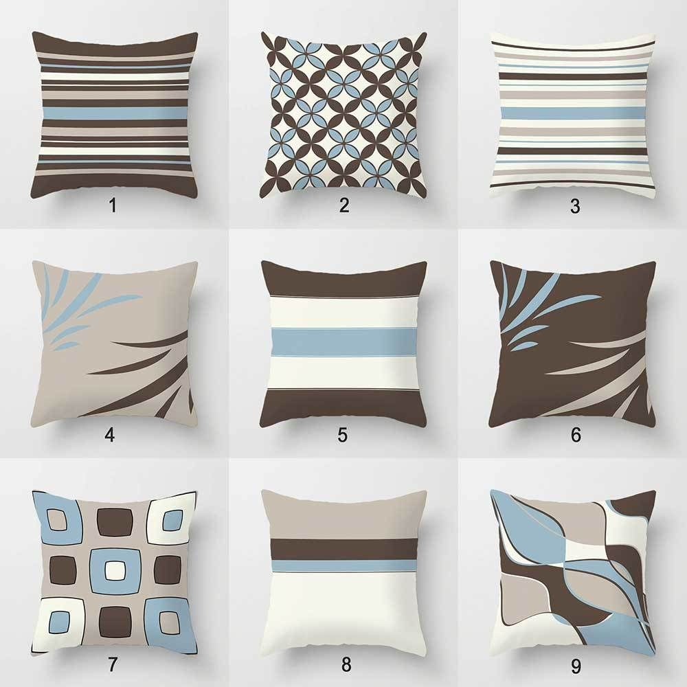 Best Blue Brown Decorative Pillow Covers Geometric Pillows 400 x 300