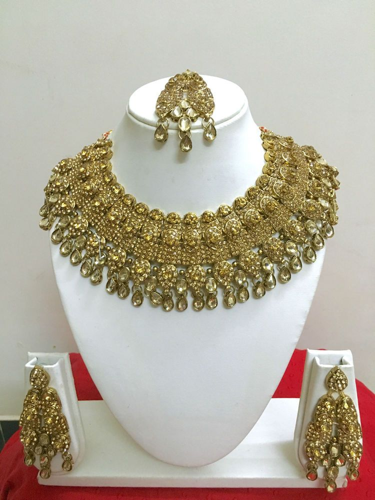 New Bollywood Indian Costume Jewellery Necklace Set Gold Design