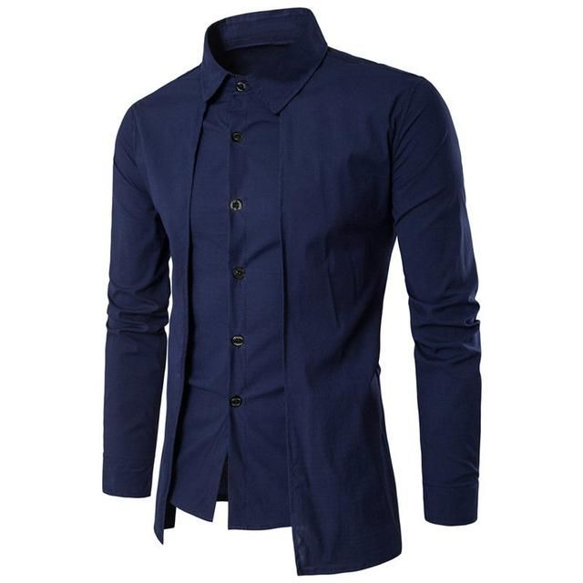Men S Long Sleeve Formal Shirt W Outer Piece And Turn Down Collar