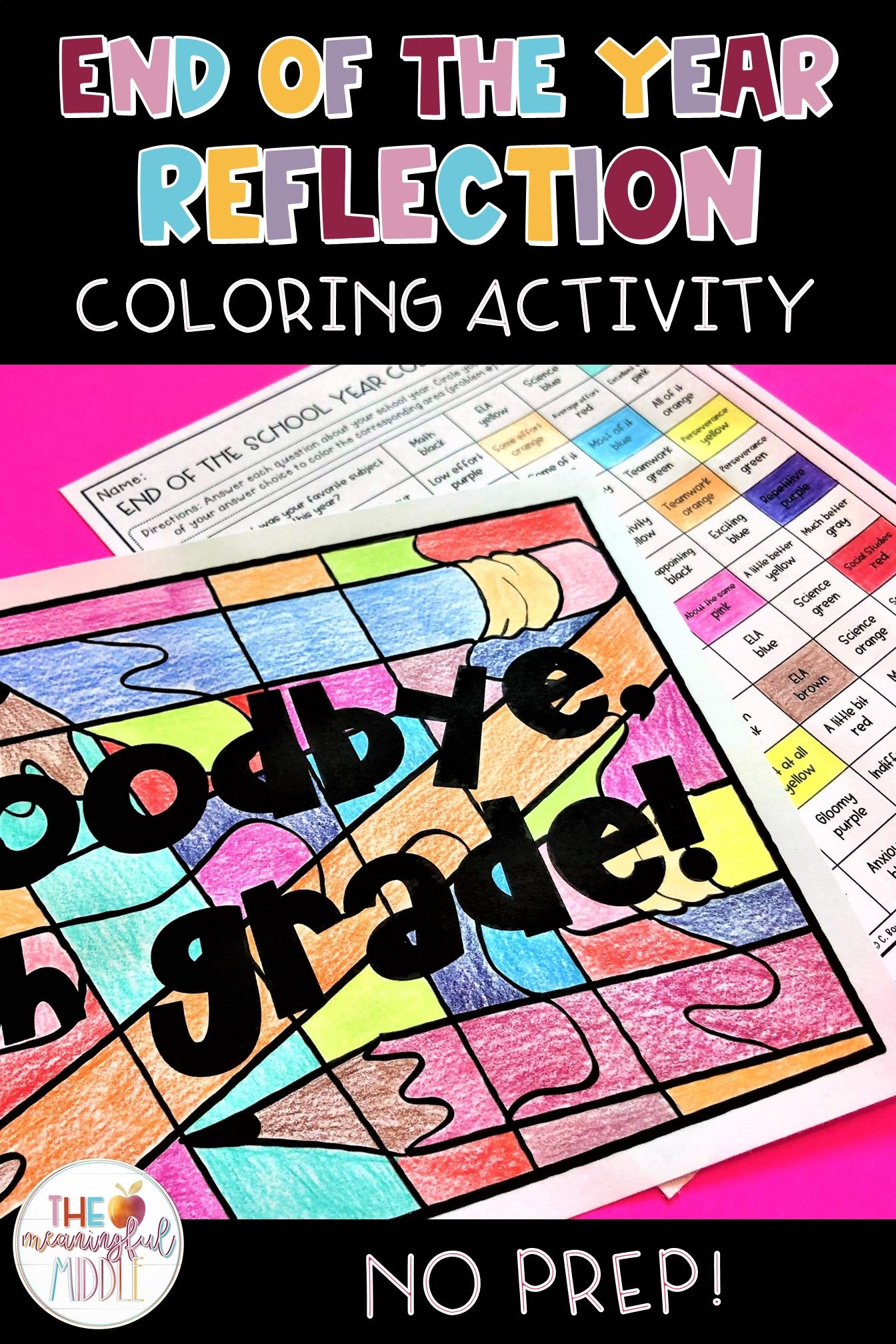 End Of The Year Reflection Coloring Activity