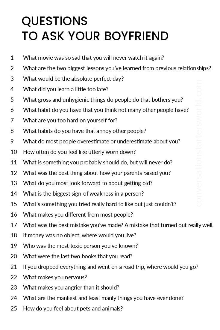 Good random questions to ask your boyfriend