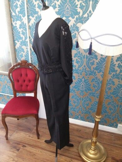Black wool & beaded lace jumpsuit with matching beaded lace belt.