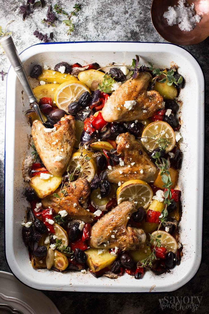 One Sheet Pan Greek Style Easy Baked Chicken Dinner by savorynothings: Throw everything onto your sheet pan and let it bake into a delicious dinner. The sauce that forms is so good! #Chicken #Greek #One_Pan: