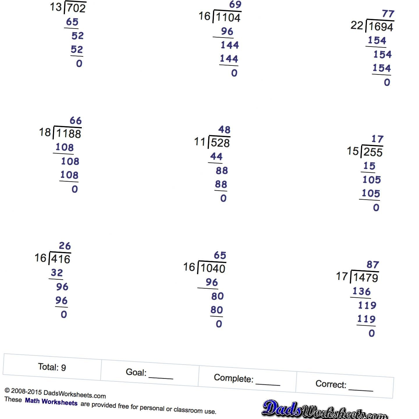 Long Division Worksheets Printable With Answer Keys