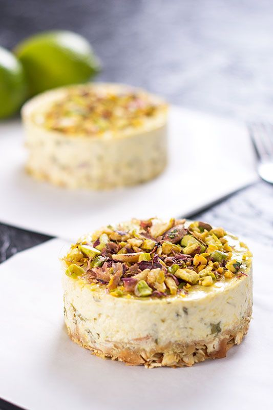 Beautifully rich little labneh cheesecakes with mango, coriander and pistachio. No added sugar and gluten free.