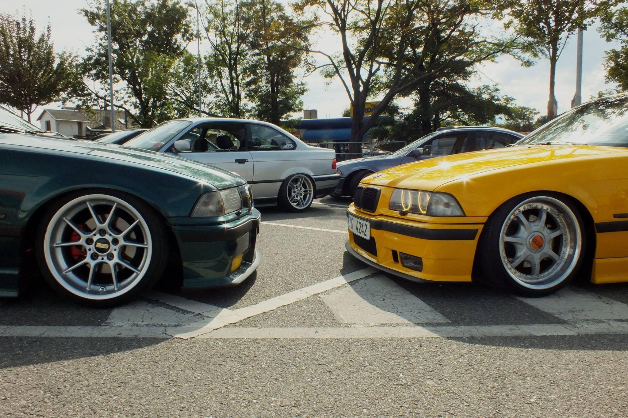 BMW E36 Meeting Boston Green On BBS RK Wheels Dakar Yellow OEM