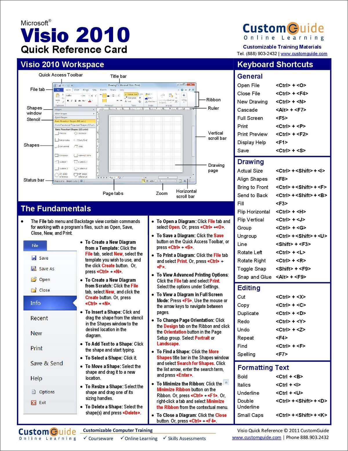 Microsoft Visio 2010 - Free Quick Reference Card | Classes in ...