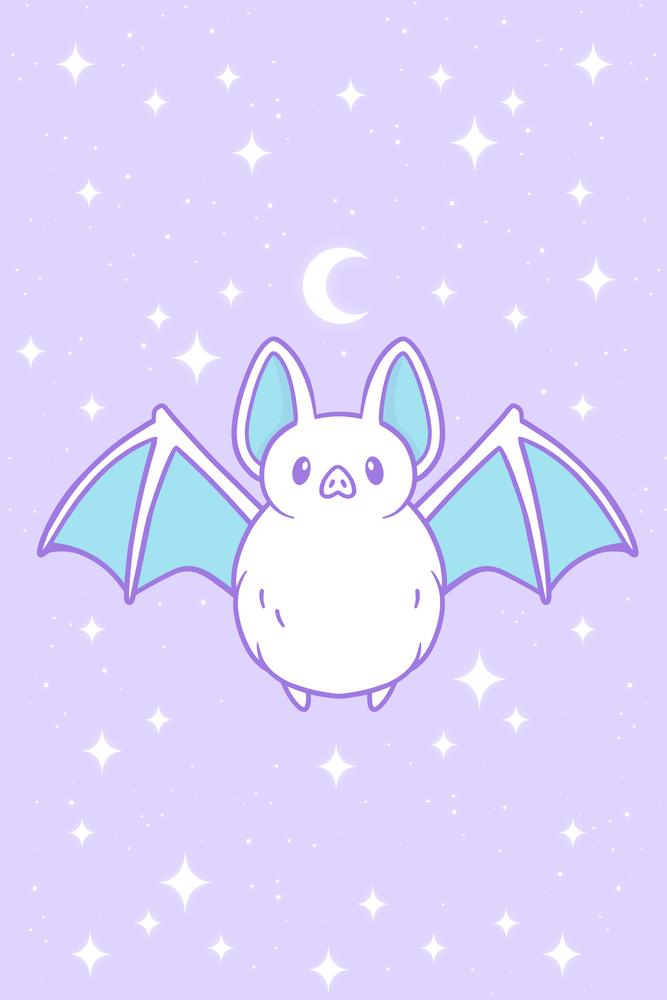Cute Pastel Bat Art Print By Nikury X Small Halloween Wallpaper Cute Kawaii Wallpaper Pastel Goth Art