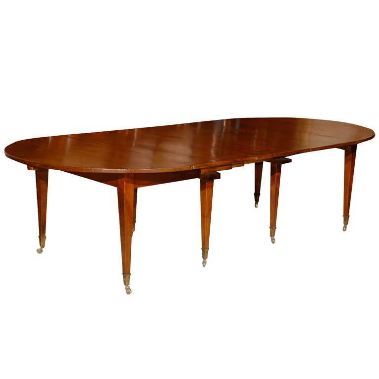 Directoire French Walnut Dining Table With 3 Leaves From A