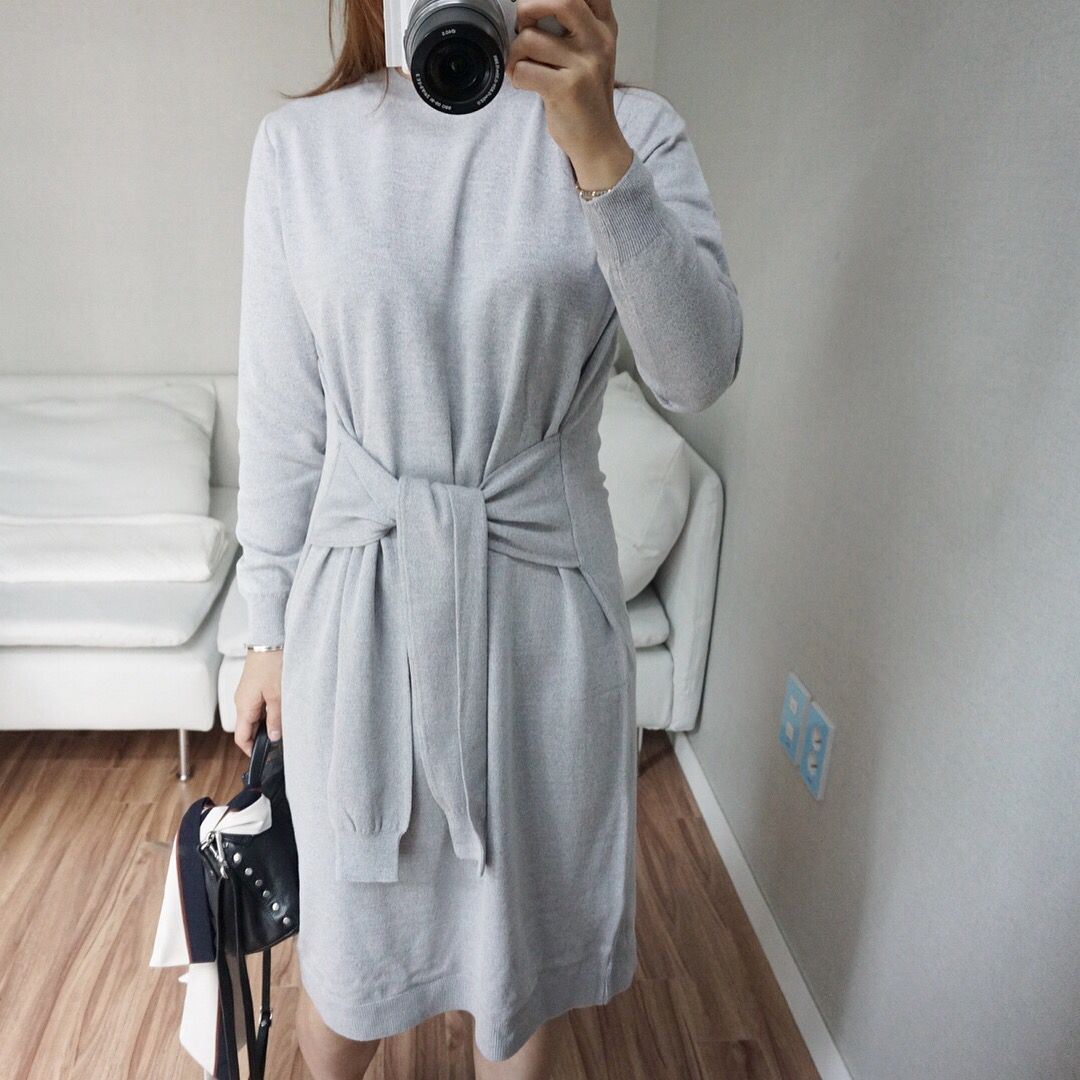 Grey Knit dress! 2016 autumn fashion trend. Seoul fashion style. daily outfits 니트원피스 그레이, 블랙