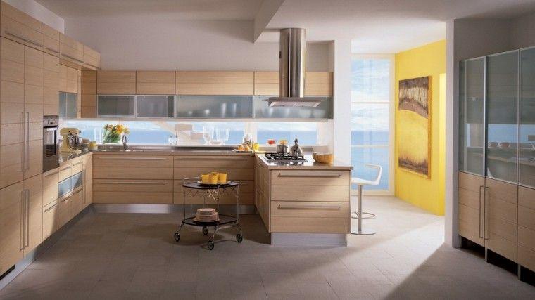 Color blanco y madera de roble para las cocinas modernas | Pinterest ...