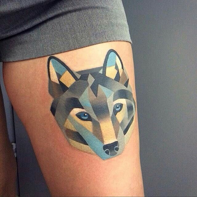 Geometric Wolf Tattoo Blue And Grey Colour With Images